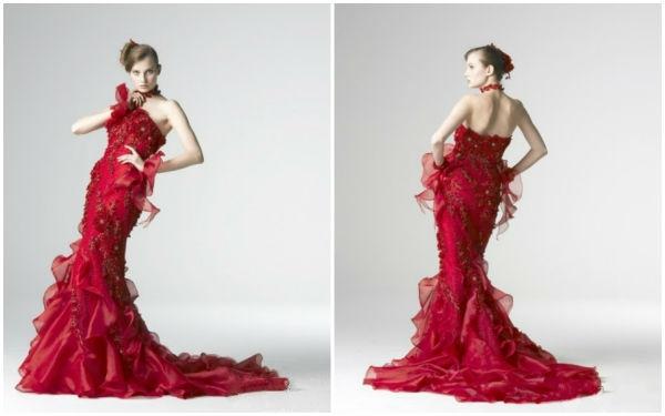 红色婚纱礼服,兼具喜庆与优雅!