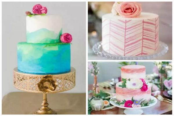 创意婚礼蛋糕:当水彩遇上婚礼蛋糕