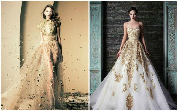 金色婚纱礼服,奢华大气又不失优雅!