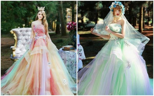 绚丽多彩的婚纱礼服,简直美翻天了!上篇