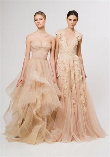 夏日梦幻浪漫风情 裸色美纱婚纱设计