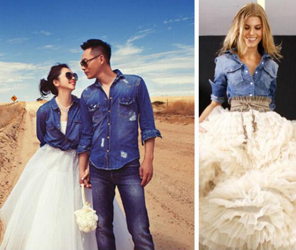 婚纱摄影怎么拍才算潮?牛仔混搭婚纱你敢试吗