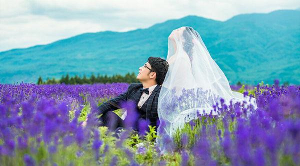 薰衣草婚纱照拍摄穿什么婚纱好看?