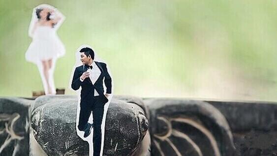 剪纸婚纱照 创意无限的婚纱照